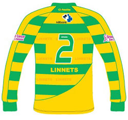 Runcorn Linnets Green Team BMH Ltd Kit front and back with the Millbank logo